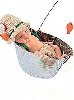Eyourhappy Baby Newborn Handmade Crochet Photography Props Fishing Fisherman Costume Outfit Fish Hat Diaper Shoes