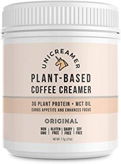 Unicreamer Vegan Non Dairy Coffee Creamer (New & Improved) - 30 Serving Canisters With Pea Protein Powder & MCT | Eco Friendly, Keto & Gluten Free Plant Based (Original (unsweetened))