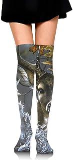Calcetines de tubo con estampado de ciervos de agua para mujer Medias altas hasta el muslo de la rodilla para niñas 65 cm / 25,6 pulgadas