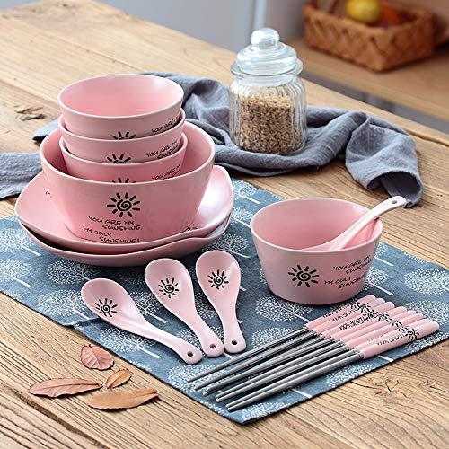 RKY Bol- Vaisselle de ménage japonais avec bol à baguettes cuillère jouet bol de riz bol à soupe bol à salade bol à fruits bol à porridge bol -3 couleurs /-/ (Couleur : Pink)