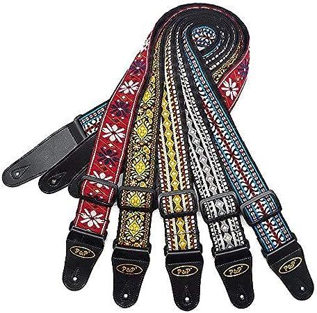 OriGlam Correa para guitarra, diseño vintage bordado, algodón, correa de guitarra bordada vintage, tejido vintage, correa de algodón, flor para bajo, guitarra eléctrica
