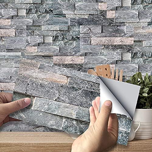 YSISLY Pegatinas de Azulejos, Paneles Impermeables Autoadhesivos Calcomanías de Papel de Pared Azulejos Rectangulares para Decoración del Hogar, PVC (Patrón de Piedra, 54pc)