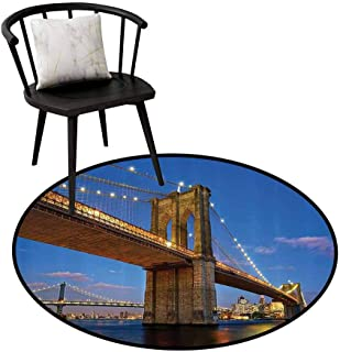 Printed Round Rug Apartment Decor Collection Protective Floor Brooklyn Bridge at Twilight in New York City East River Modern Metropolis Sunset Image Blue Ivory D47(120cm)