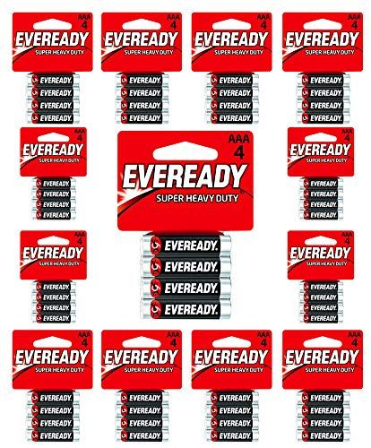 Eveready C2 & AAA Batteries Super Heavy Duty Carbon Zinc Carded (24-Pack of 4AAA= 96 Batteries)