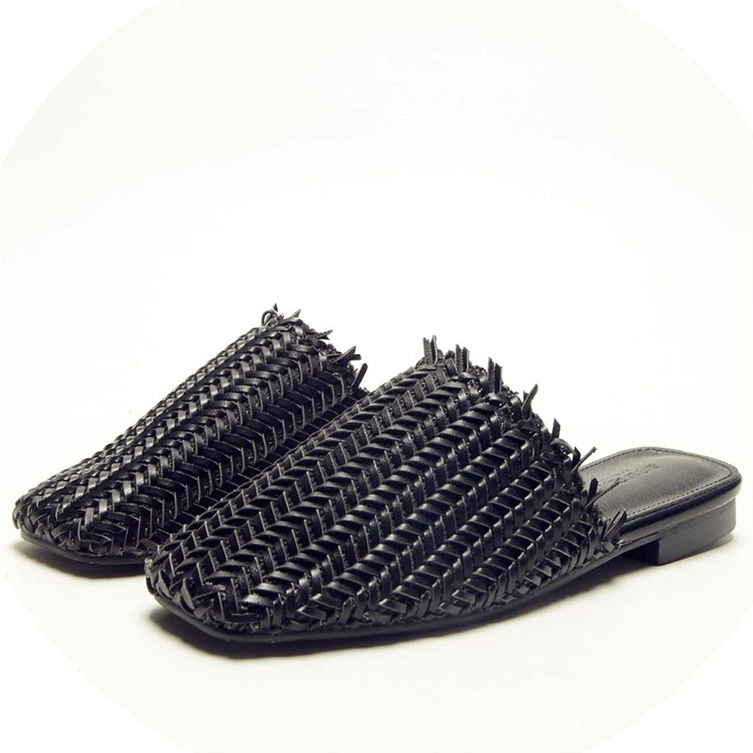 BEST WISH-slipper shoes Woman Straw Weaving Slides Fringe Slippers Low Heel Mule Hollow Out Square Toe Sandals Loafers shoes women Black Apricot
