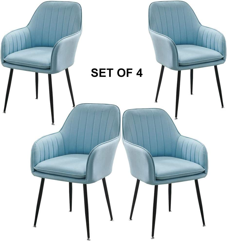 Amrai Chaises de Salle à Manger/de Salon contemporaines (Set DE 4) Jambes en métal, siège en Cuir, Dossier, siège d'appoint au Bureau, Hauteur 84 cm [6 Couleurs] Blue