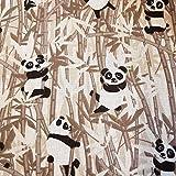 Werthers Stoffe Stoff Baumwolle Meterware braun Panda