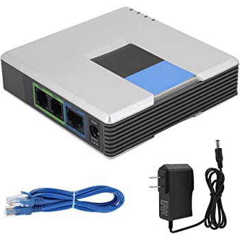 VoIP Gateway, Portable 2 Ports Adapter Internet Phone Gateway SIP RJ45 Cable Support SIP V2 Protocol for Linksys PAP2T(US Plug)