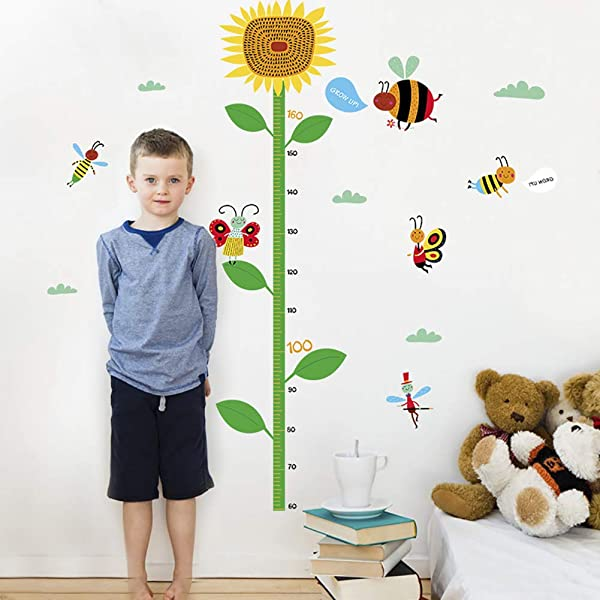 Funif DIY Measure Height Gauge Wall Decals Wall Stickers Removable Cartoon Sunflower Decor For Kids Nursery Bedroom Living Room17 7 X23 6