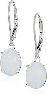 Sterling Silver Oval Created or Genuine Gemstone Dangle Earrings