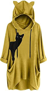 FEDULK Plus Size Womens Casual Hooded Pullover Cat Ear Print Long Sleeve Sweatshirt Tops Blouse M-5XL