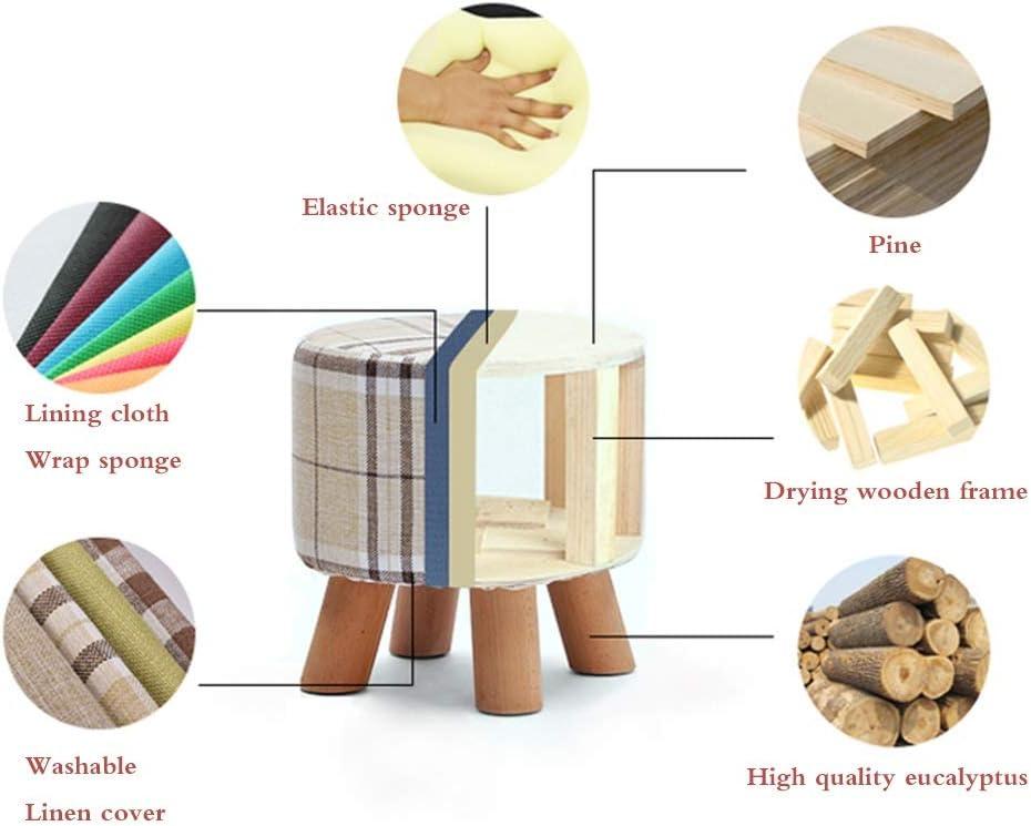 Petit tabouret chaise en bois coussin en éponge salon créatif petit banc tissu tabouret bas canapé chaussure banc (Color : I) B