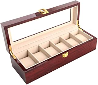 Wood Watch Box Organizer with Glass Display Top by Case Elegance for Man 6 Slots Wooden Wrist Watch Storage Case Tray Hold...