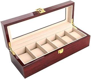 صندوق ساعة خشبي منظم مع زجاج عرض علوي من حافظة أنيقة للرجل 6 فتحات ساعة معصم خشبية تخزين علبة حامل إكسسوارات السفر للرجال
