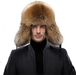 Men's Fur Hat - Winter Real Raccoon Fur Cap Fox Fur Genuine Leather Russia Aviator Hats