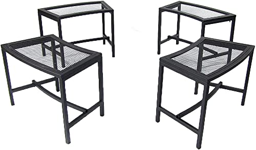 discount Sunnydaze Outdoor Curved Fire Pit Bench - Rustic Backyard Backless Powder-Coated Black Metal Mesh lowest Garden, Patio, Porch and Deck Chair Seating - Set of high quality 4 online