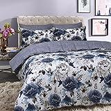 Sleepdown Inky Floral Blue Juego de Funda de edredón para Cama Extragrande, algodón, Azul, Matrimonio Grande