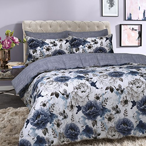 Sleepdown Inky Floral Blue Reversible Duvet Cover and Pillowcases Bedding Set (Super King)