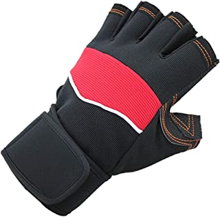 SHANGRUIYUAN-Gloves Outdoor Half Finger Short Riding Biking Glove with Anti-Slip Shock-Absorbing Pad Breathable Mountain Bike Gloves (Color : Red, Size : M)