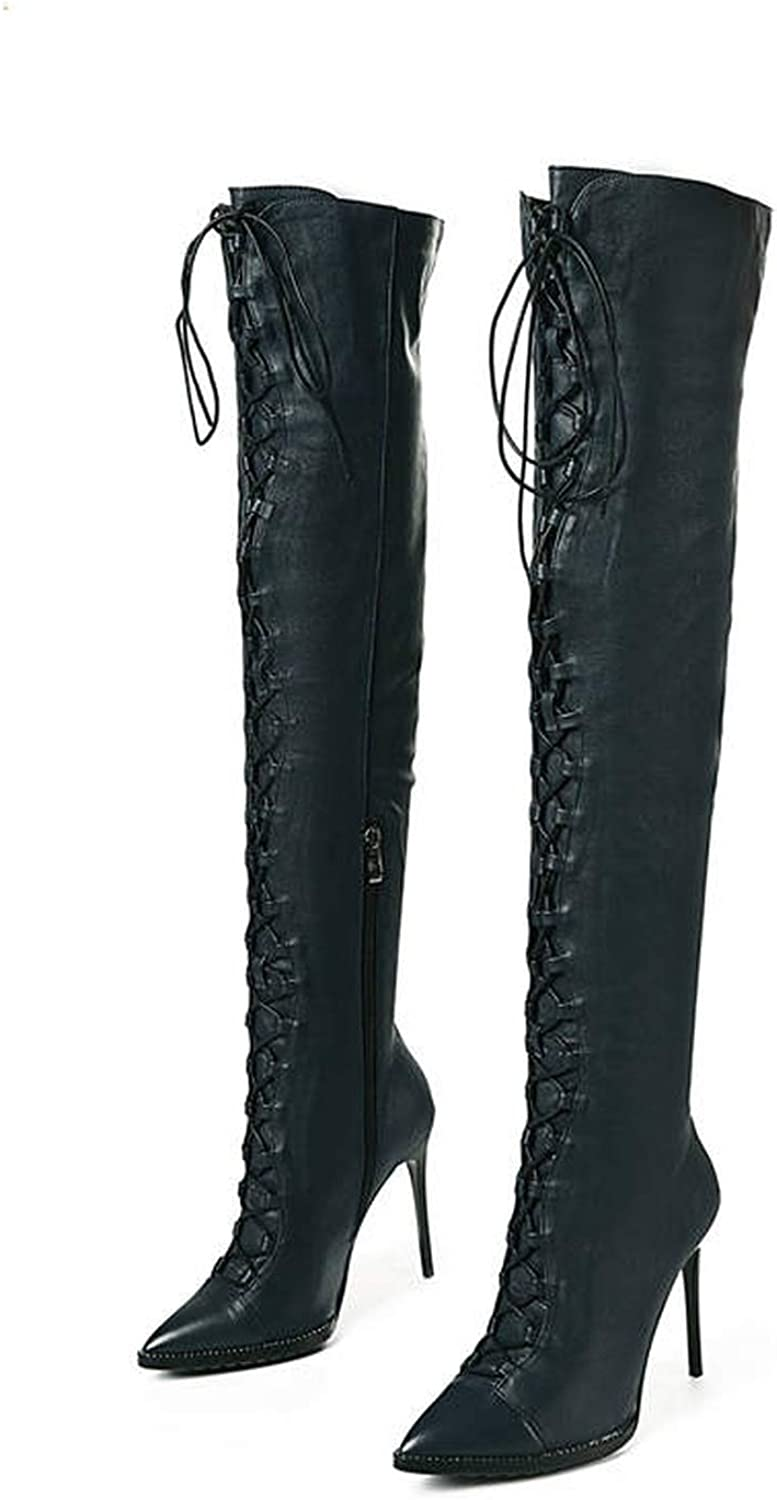 Running-sun Genuine Leather Boots Women Pointed Toe Thigh high Boots lace up Thin Heels Over The Knee Boots