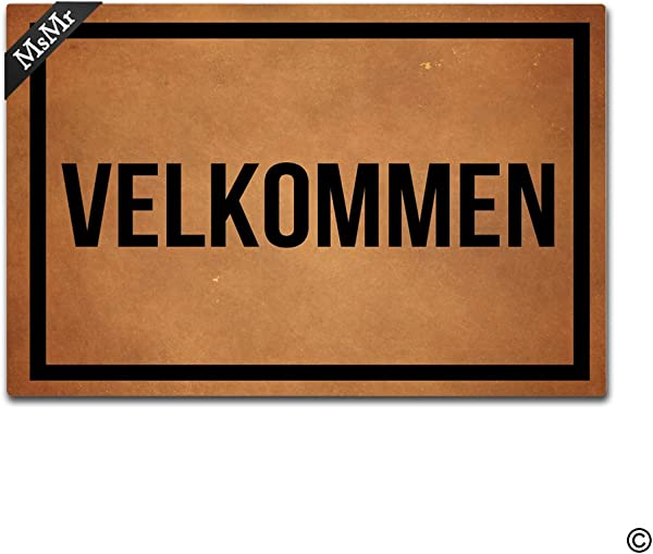 MsMr Doormat Entrance Mat Funny Doormat Home Office Decorative Door Mat Indoor Outdoor Rubber 23 6 X15 7 Velkommen