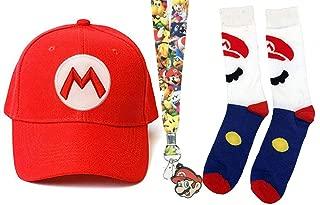 Nintendo Super Mario Bros Red Mario Baseball Cap, Lanyard, and White Mario Crew Sock Gift Bundle