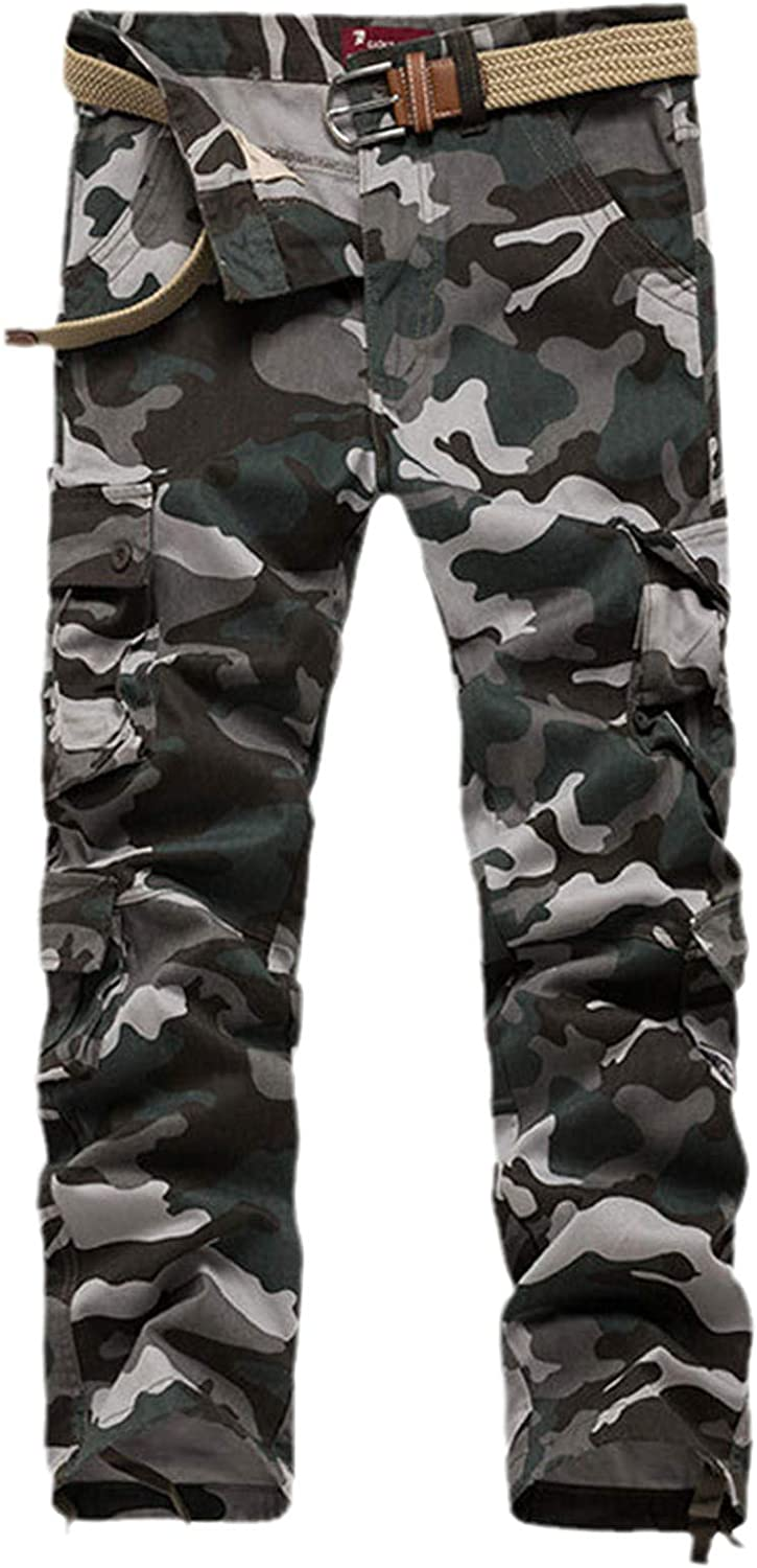 GUOYUXIAO Men's Camouflage Cargo Pants Casual Oversized Military