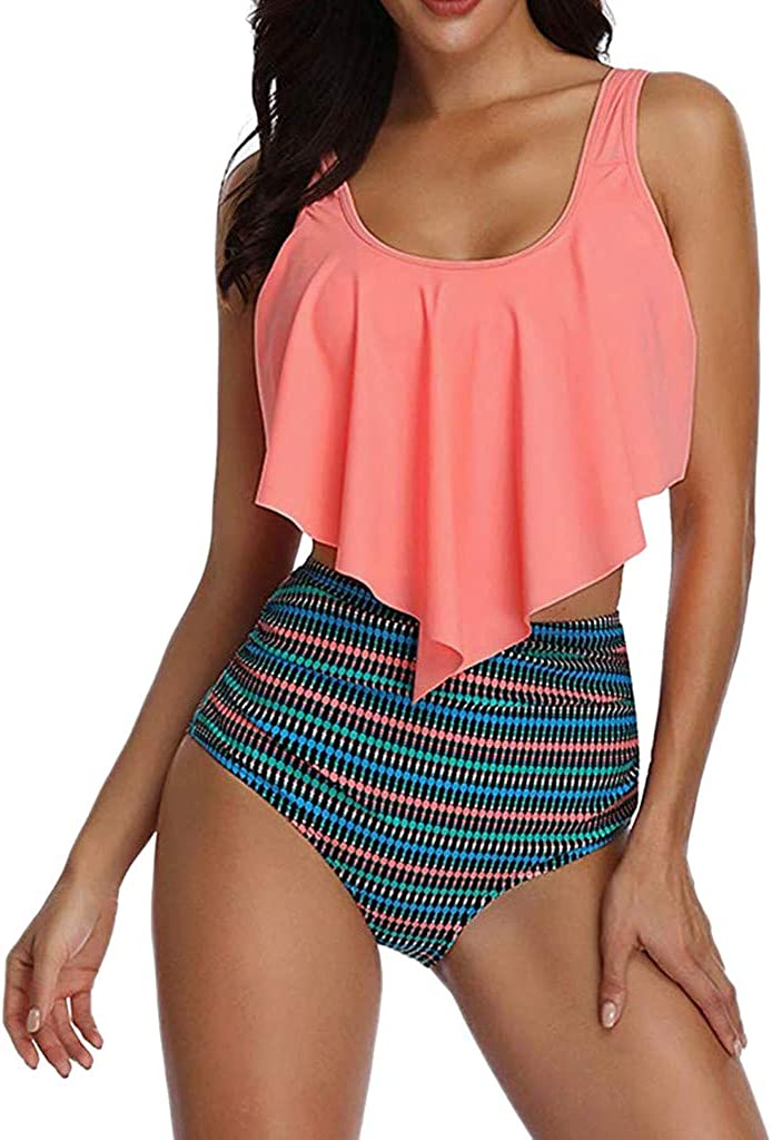 Xinantime Plus Size Switmsuit Women Two Pieces Bathing Suits Top Ruffled Racerback High Waisted Bottom Tankini Set