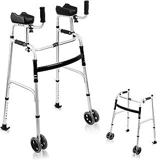 AHB Folding Walker with 4 Wheels and Arm Rest Pad, Lightweight Standard Walker Height Adjustable Rolling Walker Walking Mo...