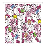 Finex White Hello Kitty Waterproof Shower Curtain with 12 Bath Curtain Hooks for Home Teens Kids College Students Apartment Bathroom décor