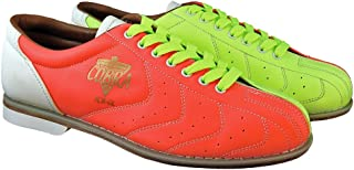 Bowlerstore Men's Glow TCR-GL Cobra Rental Bowling Shoes- Laces, 10 1/2 US M, Neon Yellow/Orange/White