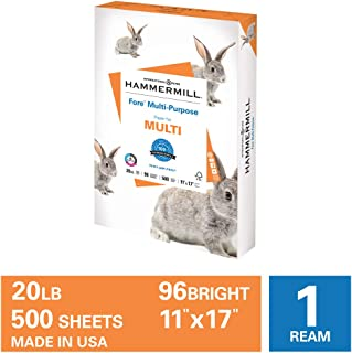 Hammermill Fore Multi-Purpose 20lb Copy Paper, 11 x 17, 1 Ream, 500 Sheets, Made in USA, Sustainably Sourced From American...