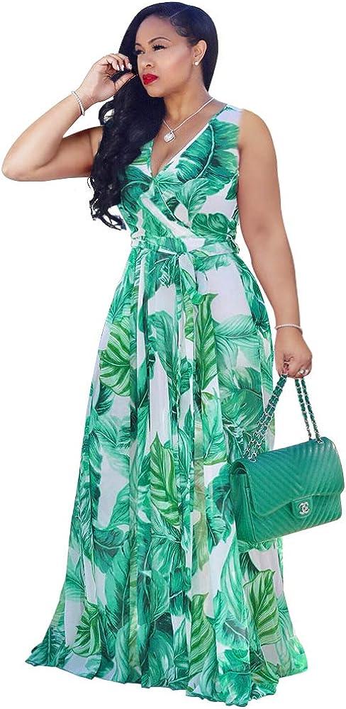 Nuofengkudu Womens Chiffon Deep V-Neck Stripe Printed Maxi Dress Unique Loose Summer Boho Dresses High Waiste(S-5XL)