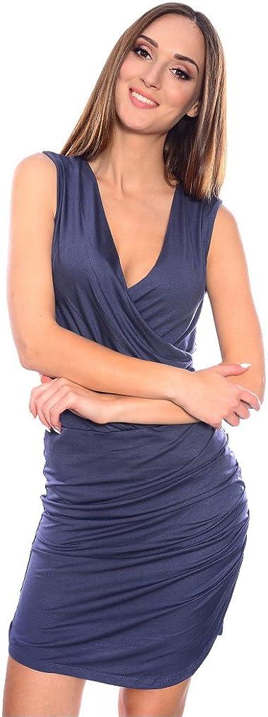 Damen Streifen Strickkleid Stretch Etui Schlauch V-Ausschnitt 36 38 40 S M L
