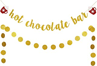 Gold Glittery Hot Chocolate Bar Banner and Gold Glittery Circle Dots Garland- Christmas Party Decorations,Brunch Party Decorations,Bridal Shower Party Decor,Home Decor
