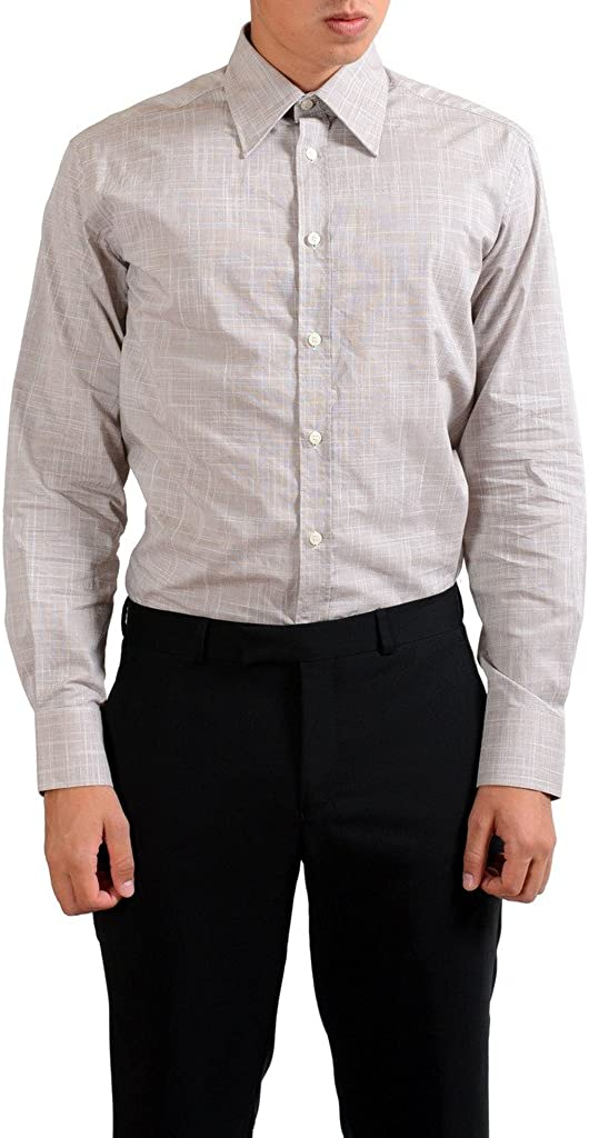 Versace Collection City Gray Checkered Dress Shirt