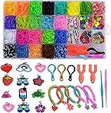 Kit de Pulseras de Goma 32 Colores, Loom Bands Elásticas de Silicona Para Hacer Pulseras, Pulseras De Colores Kit para Niña Niño