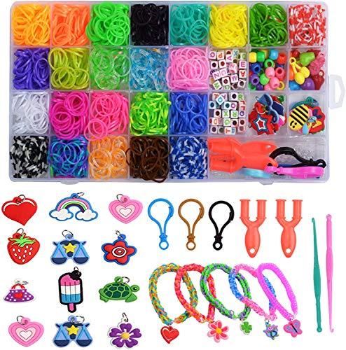 Kit de Pulseras de Goma 32 Colores, Loom Bands Elásticas de Silicona Para Hacer Pulseras, Pulseras De Colores Kit para Niños.