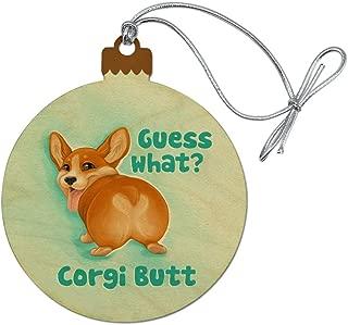 GRAPHICS & MORE Guess What Corgi Butt Funny Joke Wood Christmas Tree Holiday Ornament