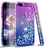 LeYi Compatible for iPhone SE Case (2016), iPhone 5S Case, iPhone 5 Case with 2pcs Tempered Glass Screen Protector for Girls Women, Cute Glitter Liquid Clear Protective Case for iPhone 5, Purple/Blue
