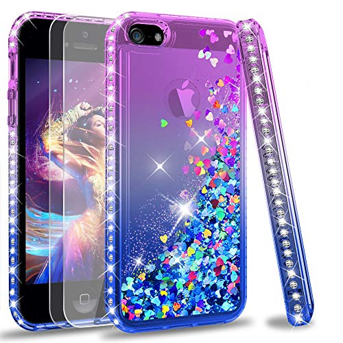 iPhone 5S Case, iPhone SE Case (2016) with [2 Pack] Tempered Glass Screen Protector for Girls Women, LeYi Glitter Bling Liquid Quicksand TPU Protective Phone Case for iPhone 5 5S SE, Purple/Blue