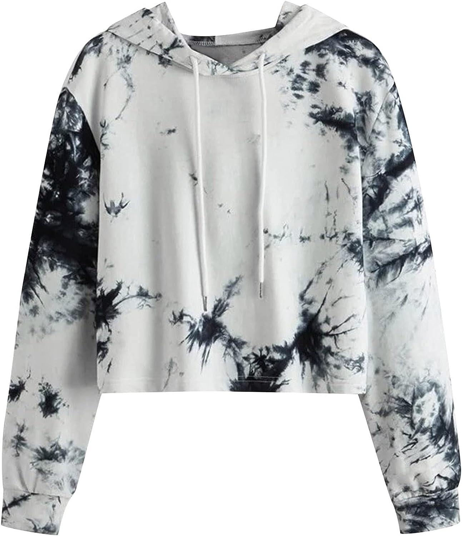 Womens Crop Hoodies Long Sleeve Tie Dye Tops Casual Fun Graphic Print Pullover Teen Girls Workout Drawstring Sweatshirt