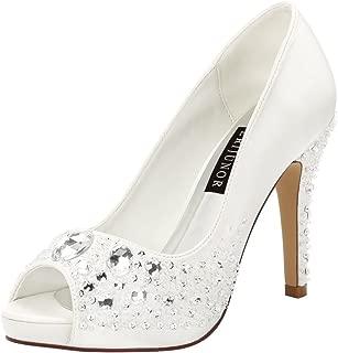 ERIJUNOR Women Classic High Heel Platform Pumps Hand Beading Rhinestones Bridal Wedding Shoes
