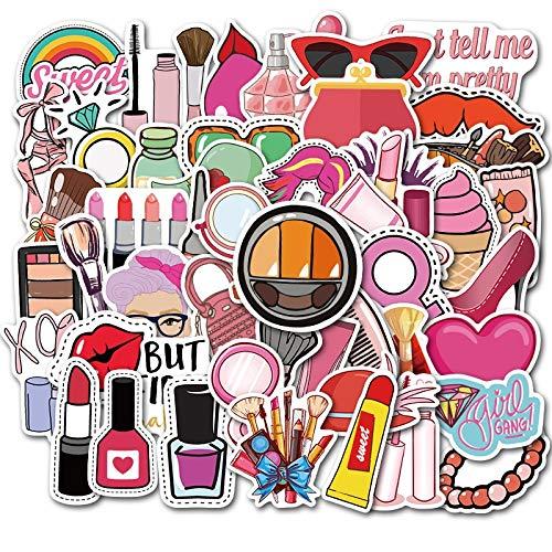 HONGC Un montón de Pegatinas de Maquillaje para Chicas Bonitas, lápiz Labial, Perfume, Tacones Altos, patrón DIY, Maleta para portátil, Pegatina Bonita, 50 Uds.