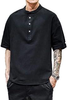 Doufine Men Linen Cotton Casual Beach Loose T Shirts Blouse Top