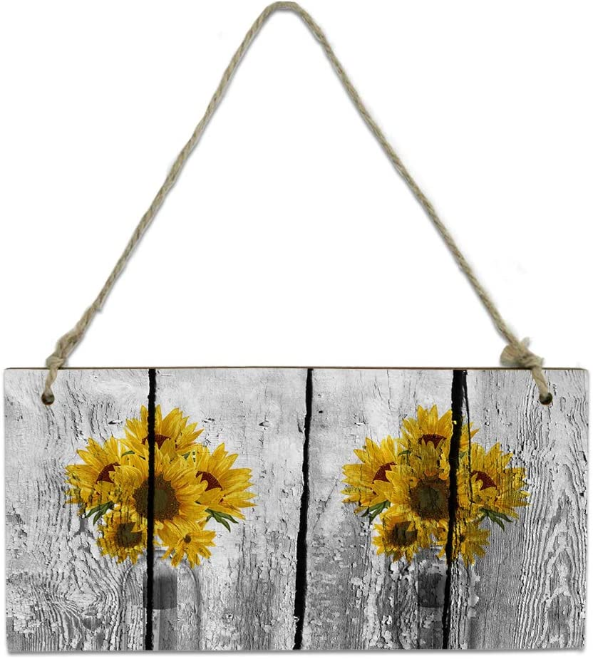 Wood Plaque Wall Max 46% OFF Hanging Sign online shopping Bathroom Sunflower for Rus Kitchen