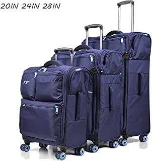 Trolley Bags,Large Capacity Ultra Light 4 Wheel Carry on Spinner Travel Hand Cabin Suitcase Multifunctional Soft Box Family Pack,Blue,28inch