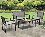 JUMMICO 4 Pieces Patio Furniture Set Modern Conversation Set Outdoor Garden Patio Bistro Set with Glass Coffee Table for Home, Porch, Lawn (Grey)