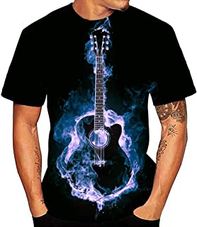 Camiseta Guitarra Hombre Camisetas Manga Corta Mujer Verano Camiseta Original Estampadas T Shirt Printed para Concierto Fe...