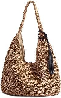 QTKJ Hand-woven Soft Large Straw Shoulder Bag with Black Tassels Boho Straw Handle Tote Retro Summer Beach Bag Rattan Handbag (Brown)